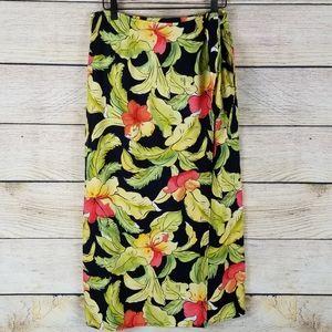 Talbots petites linen blend wrap skirt tropical